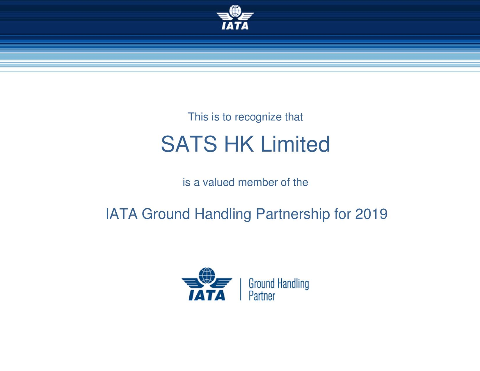IATA Ground Handling Partnership 2019